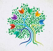 picture of education  - Education learning and growth concept with colorful abstract tree book illustration - JPG