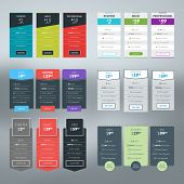 pic of tables  - Set of vector pricing table in flat design style for websites and applications - JPG