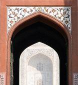 stock photo of india gate  - Decorated main gate portal to the Taj Mahal site in Agra - JPG
