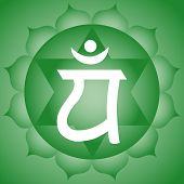 picture of chakra  - Traditional Indian Anahata green heart chakra symbol - JPG