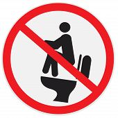stock photo of pooper  - vector illustration of do not poo on water tank sign - JPG