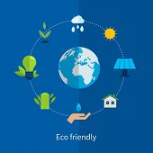 foto of environment-friendly  - Flat design vector concept illustration with icons of ecology - JPG