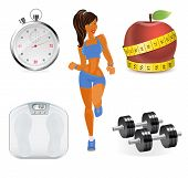 Vector flat set of fitness woman. Flat illustration of fitness elements. poster