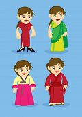 pic of sari  - Set of four cartoon characters in traditional asian national outfits Chinese cheongsam Indian Sari Korean Hanbok and Japanese Kimono isolated on blue plain background - JPG