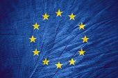 image of european  - European Union flag or Europe banner on wooden texture - JPG