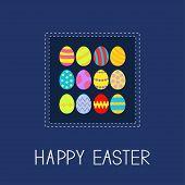 picture of dash  - Colored Easter egg set dash line frame Card Flat design Vector Illustration - JPG
