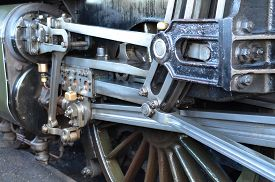 image of train-wheel  - Large British steam train with it - JPG