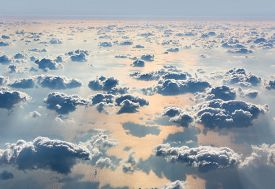 picture of aeroplan  - Beautiful sky with clouds a view from an aeroplane above the clouds - JPG