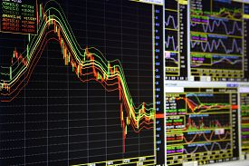 stock photo of analysis  - Charts of financial instruments with various type of indicators for technical analysis on the monitor of a computer - JPG