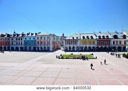 Market Square in Zamosc, Poland