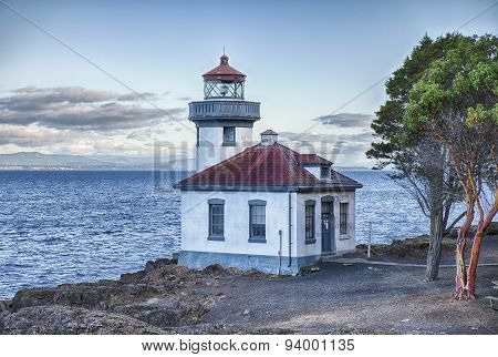 Lime Kiln Point Lighhouse At Dawn