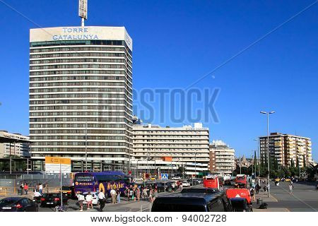 Barcelona, Spain - July 8, 2014. The Stylish Hotel Torre Catalunya, Located Near The Train Station S