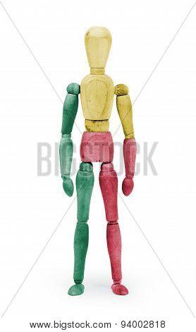 Wood Figure Mannequin With Flag Bodypaint - Benin