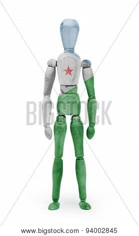 Wood Figure Mannequin With Flag Bodypaint - Djibouti