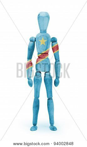 Wood Figure Mannequin With Flag Bodypaint - Congo