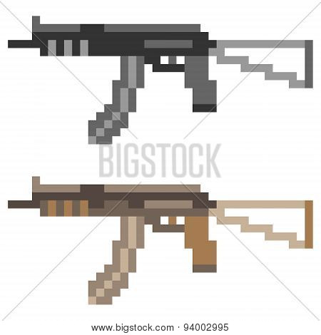 illustration pixel art icon sub machine gun