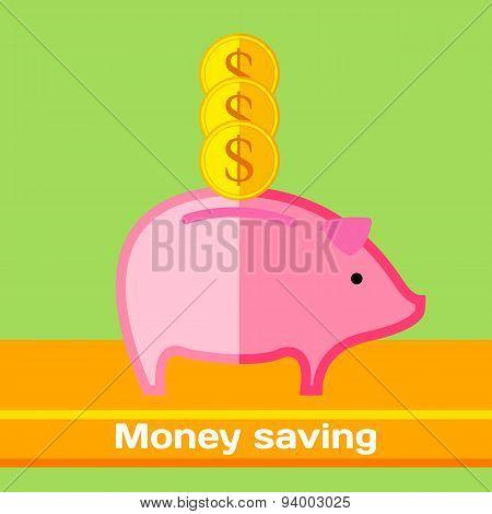 Saving money. Piggy as a pink pig. FLat vector illustration.