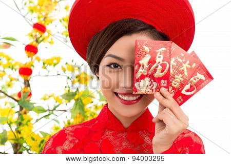 Vietnamese Woman With Tet Greeting Cards