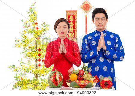 Praying Before New Year Celebration