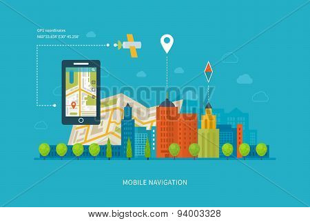 Vector illustration concept of  holding smart-phone with mobile navigation.