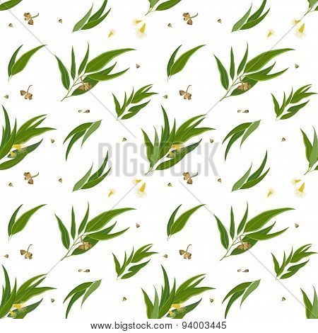 Seamless pattern with eucalyptus leaves, seeds and flowers