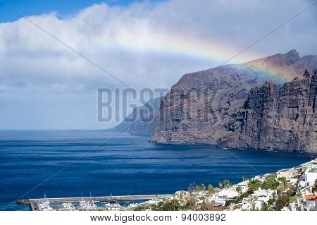 Rainbow Over Los Gigantes Cliffs And Resorts, Tenerife