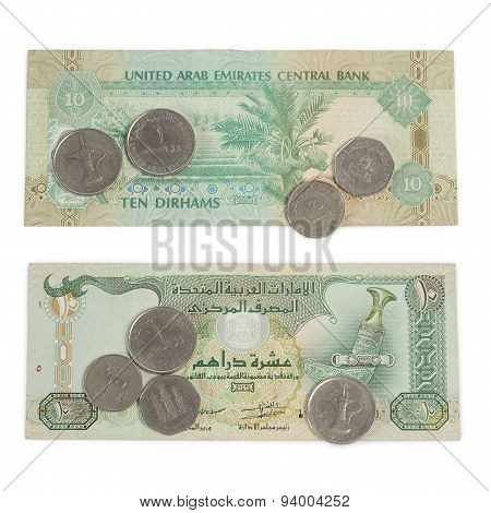 Ten Dirham Note And Coins