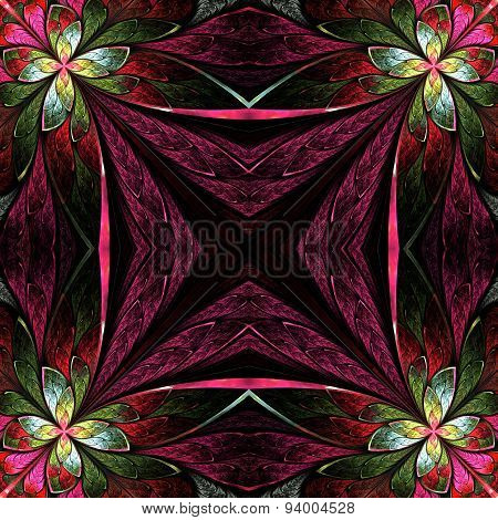 Symmetrical Flower Pattern In Stained-glass Window Style. Green, Yellow And Purple Palette On Black