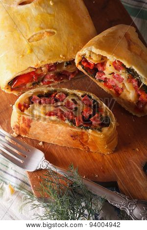 Strudel With Ham, Cheese And Spinach, Close-up. Vertical
