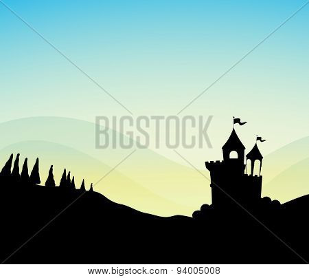 Silhouette scene of castle on the hill