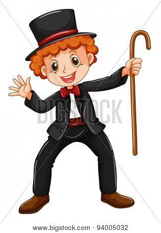 Magician in tuxedo holding a walking stick