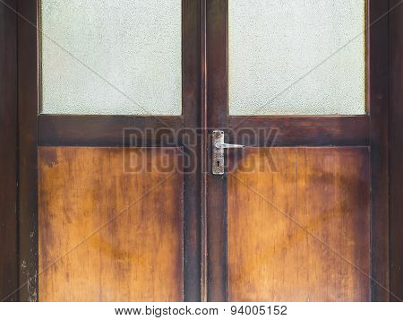 Wooden Door Frame With door Handle old condition