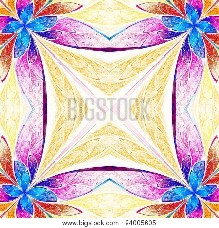 Symmetrical Flower Pattern In Stained-glass Window Style On Light. Blue, Pink And  Beige Palette
