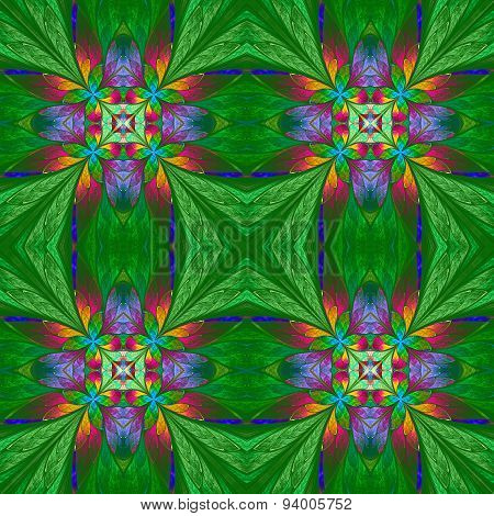 Symmetrical Multicolored Flower Pattern In Stained-glass Window Style On Green Backgrownd.