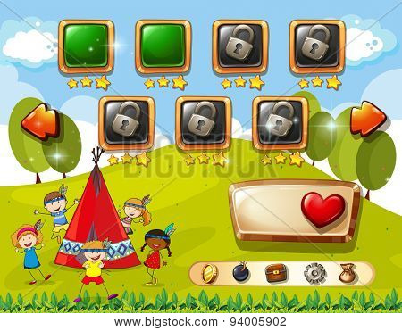 Game template with children and teepee background