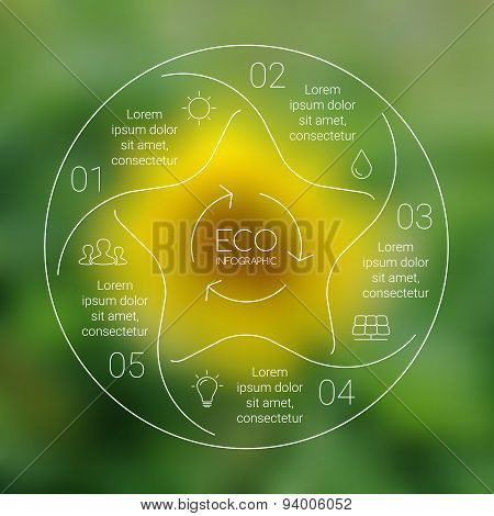 Vector linear circle eco infographic. Ecology template for diagram, graph, presentation, chart. Envi