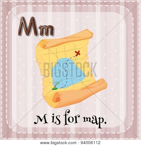 Flashcard letter M is for map