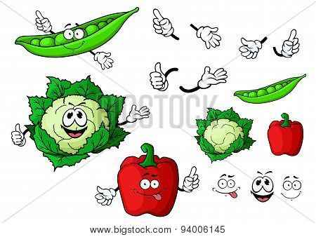 Cartoon cauliflower, pepper and pea pod vegetables