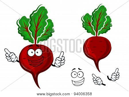 Cartoon fresh red beetroot vegetable
