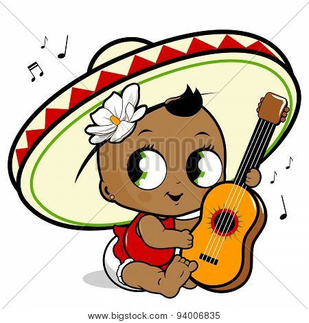 Mariachi baby girl playing the guitar