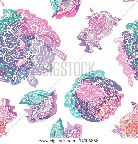 Vector Watercolor Floral Pattern
