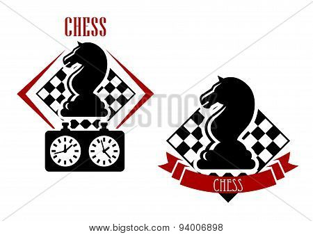 Chess badges with chessboards and figures