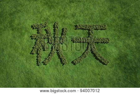 Autumn Chinese Text Tree With Grass Background