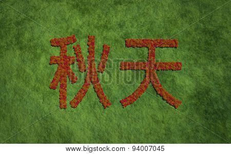 Autumn Chinese Text With Grass Background