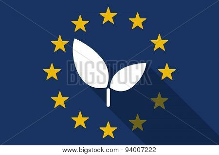 European Union Long Shadow Flag With A Plant