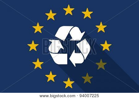 European Union  Long Shadow Flag With A Recycle Sign