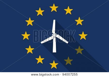 European Union Long Shadow Flag With A Wind Generator