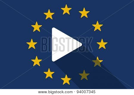European Union  Long Shadow Flag With A Play Sign