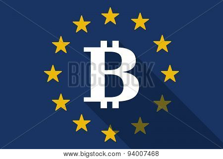 European Union Long Shadow Flag With A Bit Coin Sign