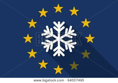 European Union Long Shadow Flag With A Snow Flake
